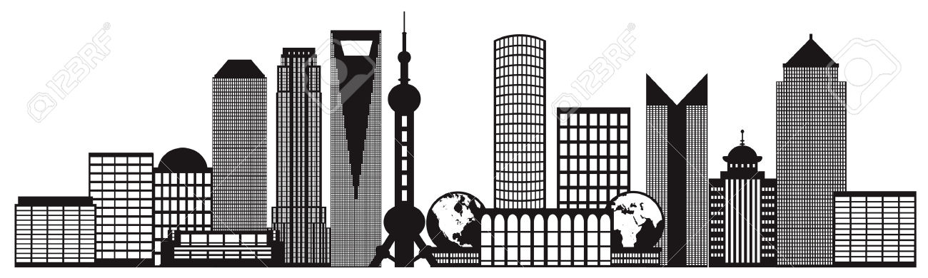 Shanghai China City Skyline Outline Silhouette Black Isolated.