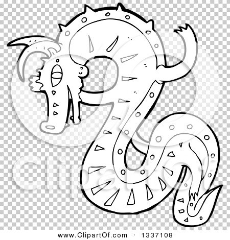 Lineart Clipart of a Black and White Chinese Dragon.