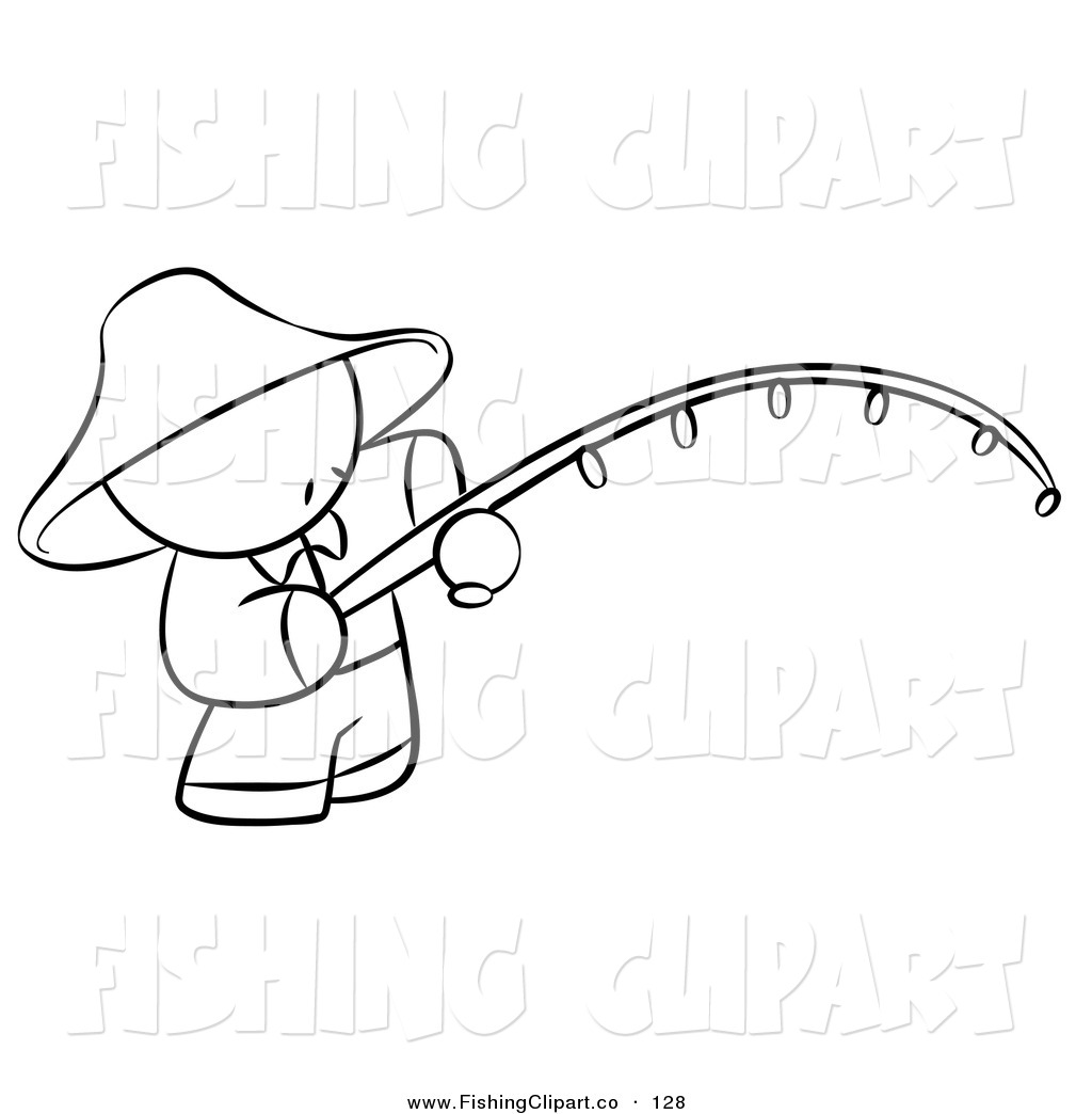 Clip Art of a Black and White Human Factor Chinese Man Fishing on.