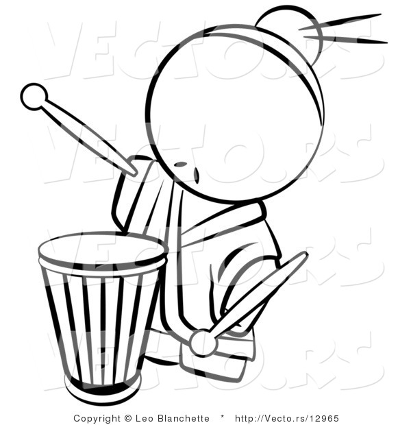 Vector of Drummer Chinese Person.