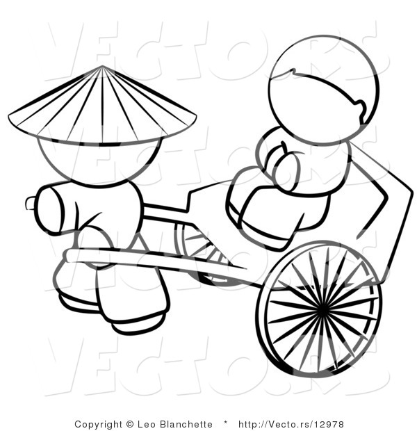 Vector of Chinese Person Pulling a Customer in a Cart.