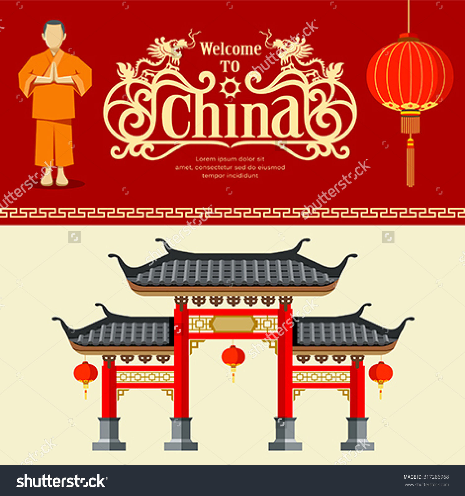 Vector Welcome China Travel Design Background Stock Vector.