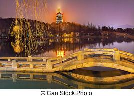 Stock Images of Old Chinese Pavilion West Lake Reflection Hangzhou.