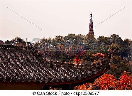 Picture of Ancient Tiled Roof Baochu Pagoda West Lake Hangzhou.