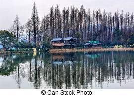 Stock Images of Old Chinese Pavilion West Lake Reflection Hangzhou.