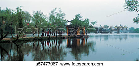Picture of the pavilion of the Thin West Lake,Yangzhou city.