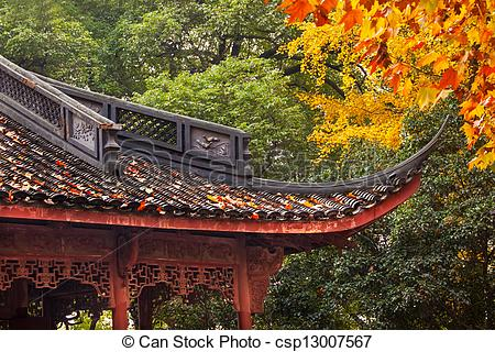 Stock Image of Ancient Chinese House Roof Autumn Leaves Tree West.