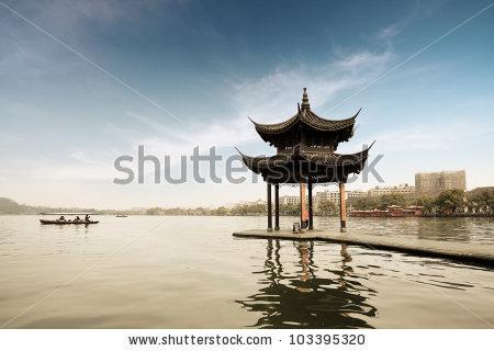 Ancient Pavilion On West Lake Hangzhouchina Stock Photo 98364236.