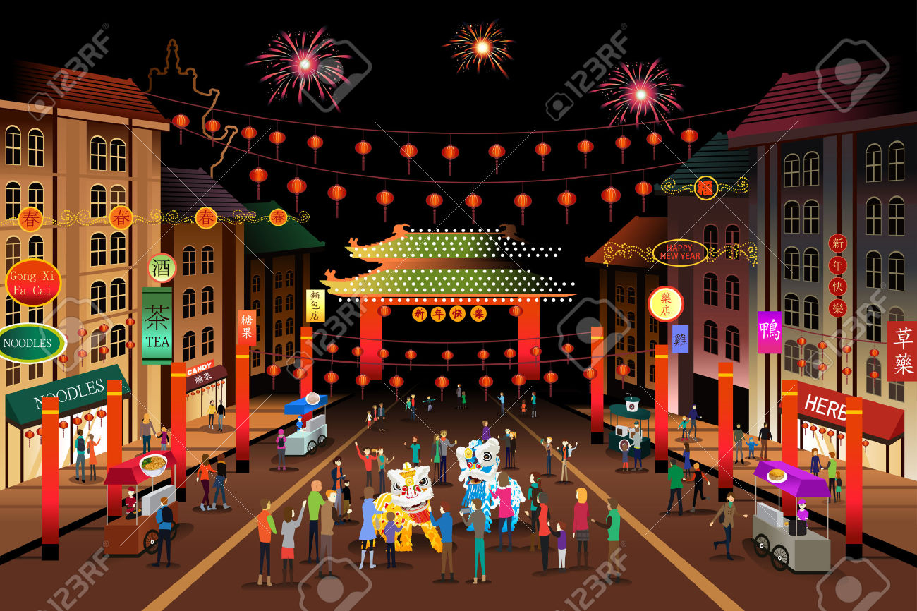 A Vector Illustration Of People Celebrating Chinese New Year.