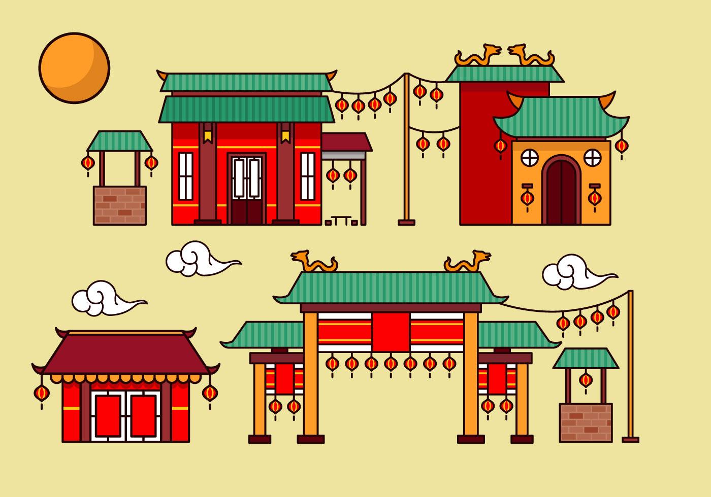 China Town Free Vector Art.