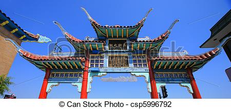 Stock Photo of Gate to Chinatown in Los Angeles, California, USA.