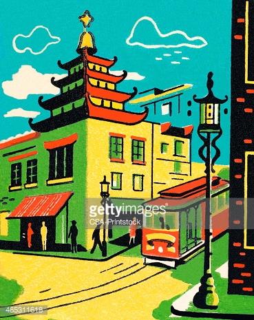 Chinatown IN San Francisco stock vectors.