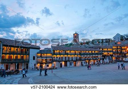 Stock Photo of Main Square, night view. Chinchon, Madrid province.