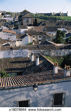 Stock Photo of Spain, Chinchon, view over rooftops x18078944.