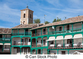 Stock Photo of Main square, Touristic village in Madrid province.