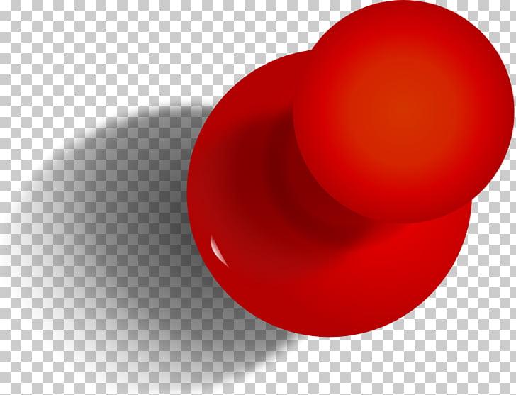 Pin rojo redondo, icono de pin de papel, chincheta PNG.