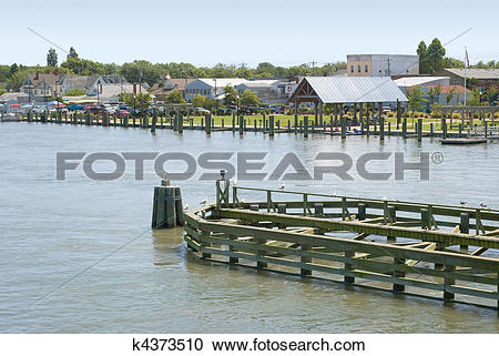 Stock Photography of Waterfront in Chincoteague, Virginia k4373510.