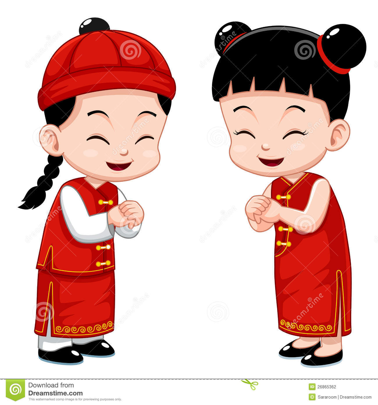 Chinese kids clipart.