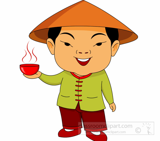 Clipart Chinese Man And Bowl.