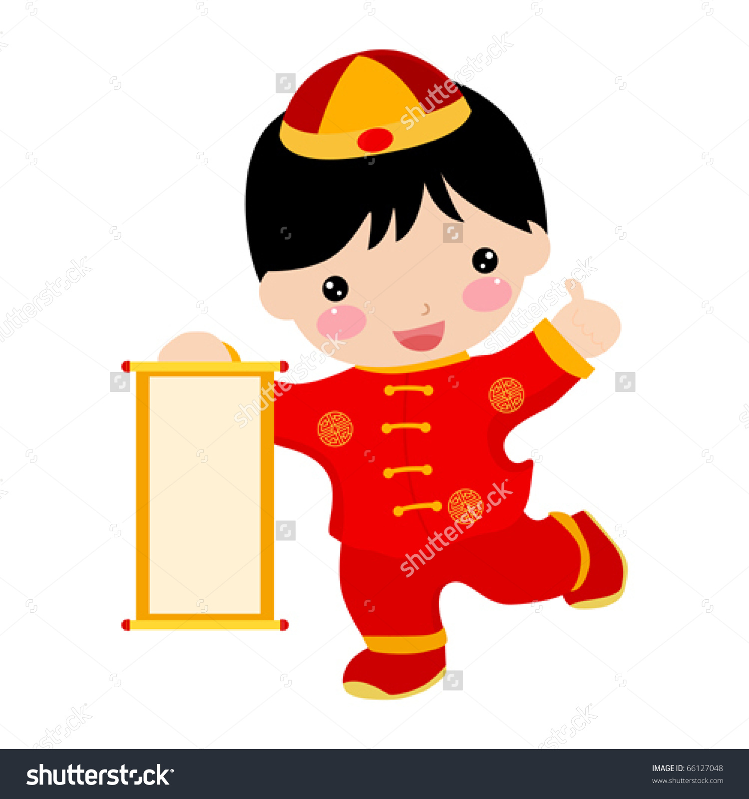 Chinese baby boy clipart.