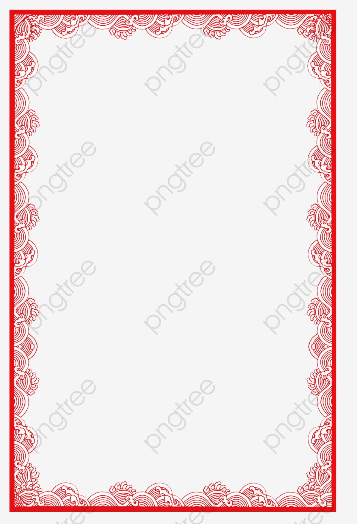 Red Chinese Border, Chinese Clipart, Watermark, Red PNG Transparent.