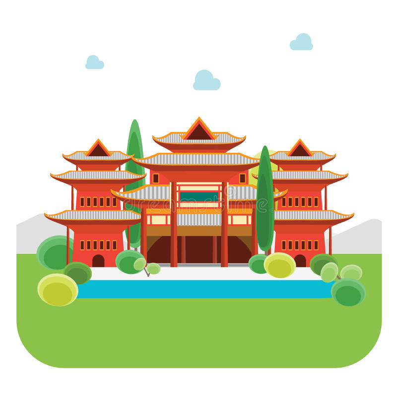 Ancient China Building Stock Illustrations.