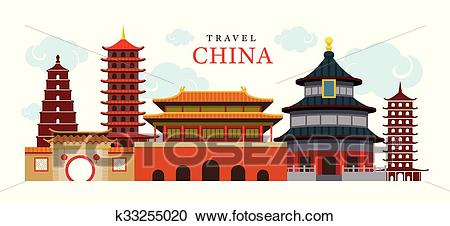 Travel China Building and City Clipart.