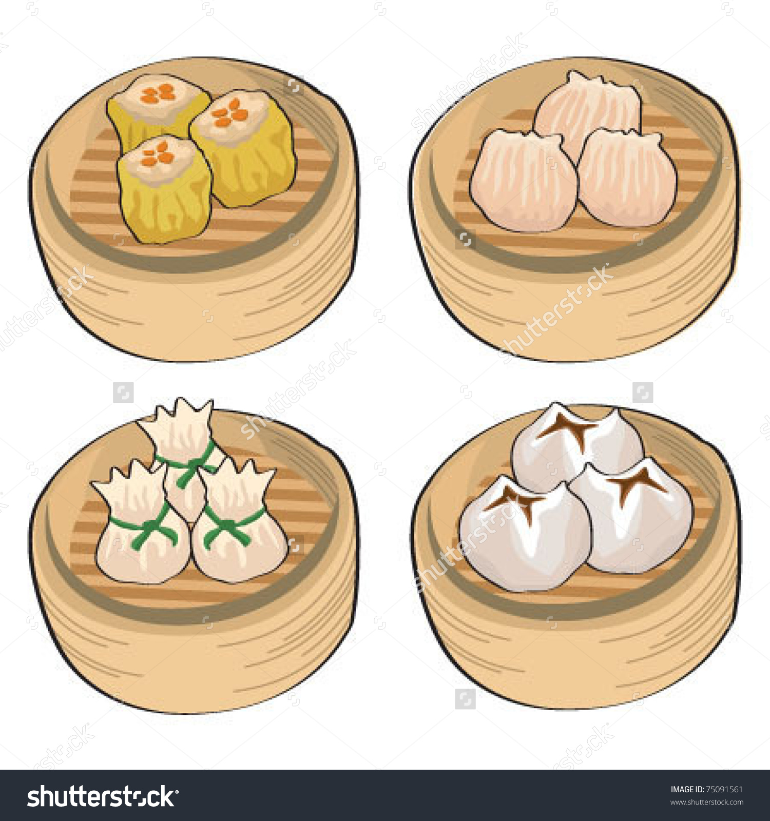 Chinese Steamed Dim Sum Stock Vector 75091561.