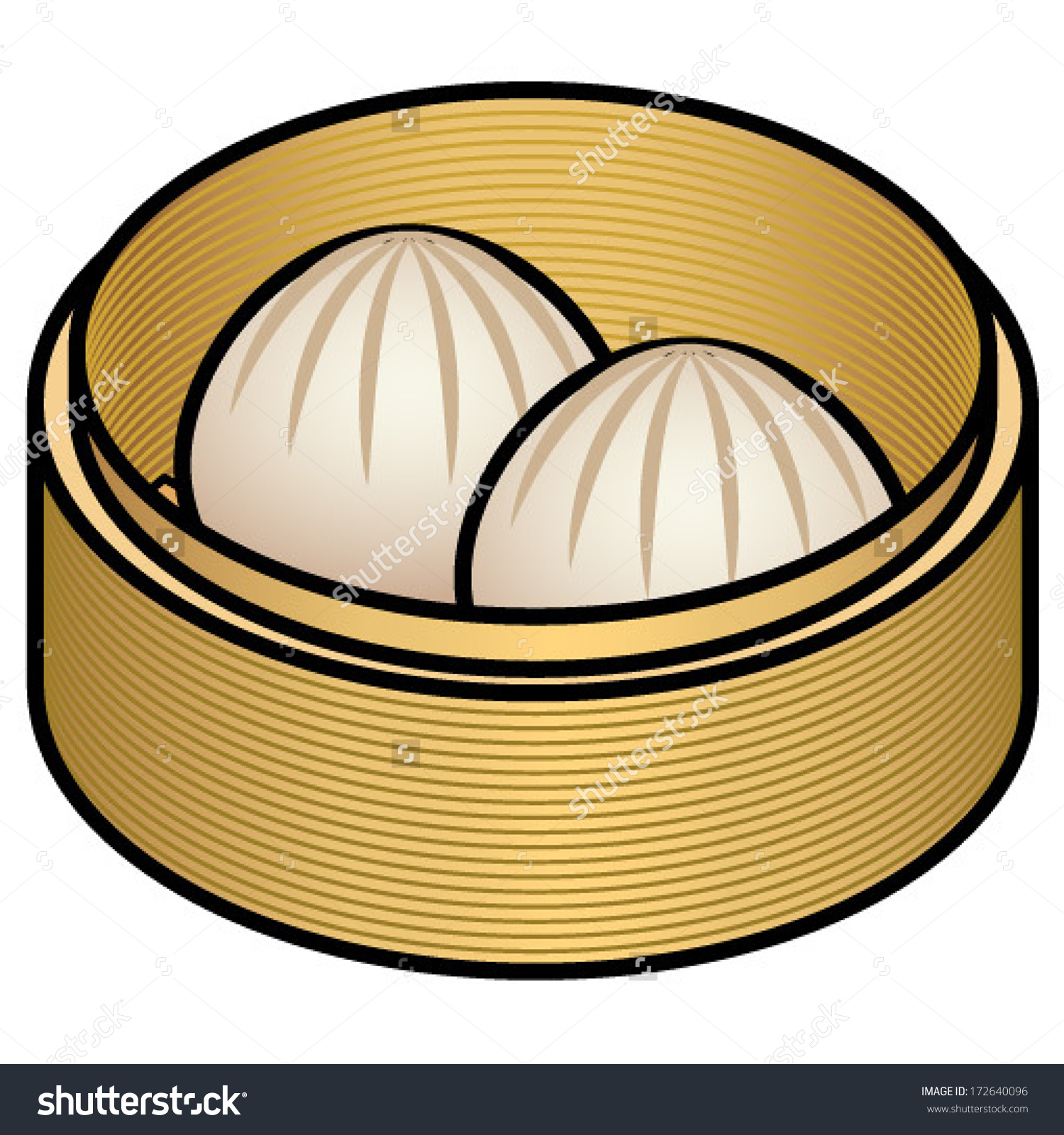 Bamboo Steamer Chinese Pork Bun Dumplings Stock Vector 172640096.