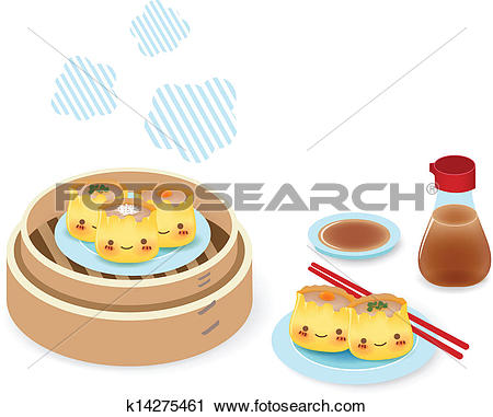 Clipart of Cute Dim sum.