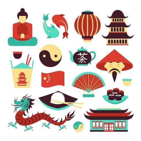 China symbols set.