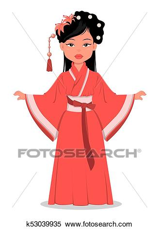 Chinese girl character in beautiful traditional clothes and with flowers in  her hair. Clipart.