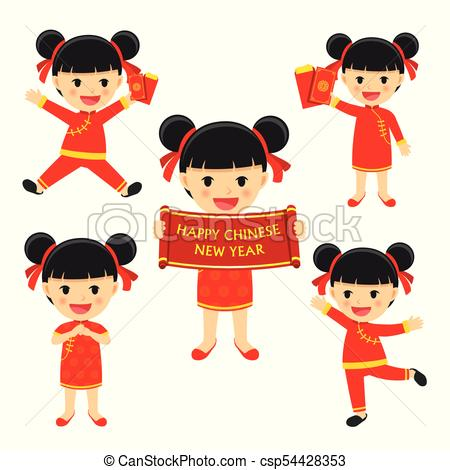Happy chinese new year girl in traditional clothes celebrate. Set of  character cartoon isolated on white background..