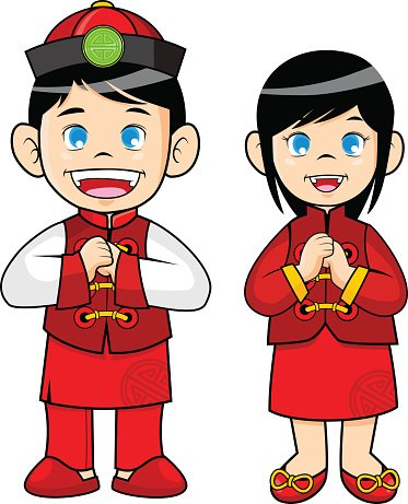 Boy and Girl Wearing Traditional Chinese Clothes premium clipart.