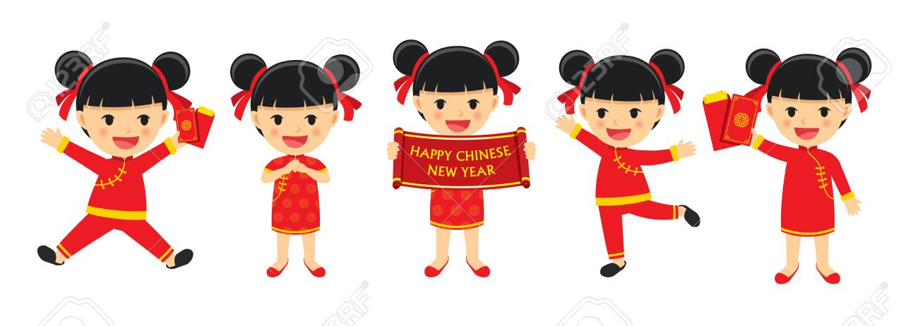 Happy chinese new year girl in traditional clothes celebrate.