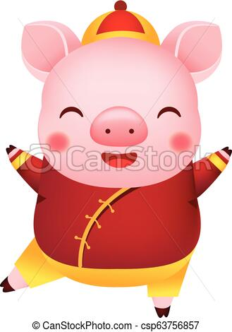 Chinese new year. 2019 Cartoon pig in traditional clothes. Vector  illustration..