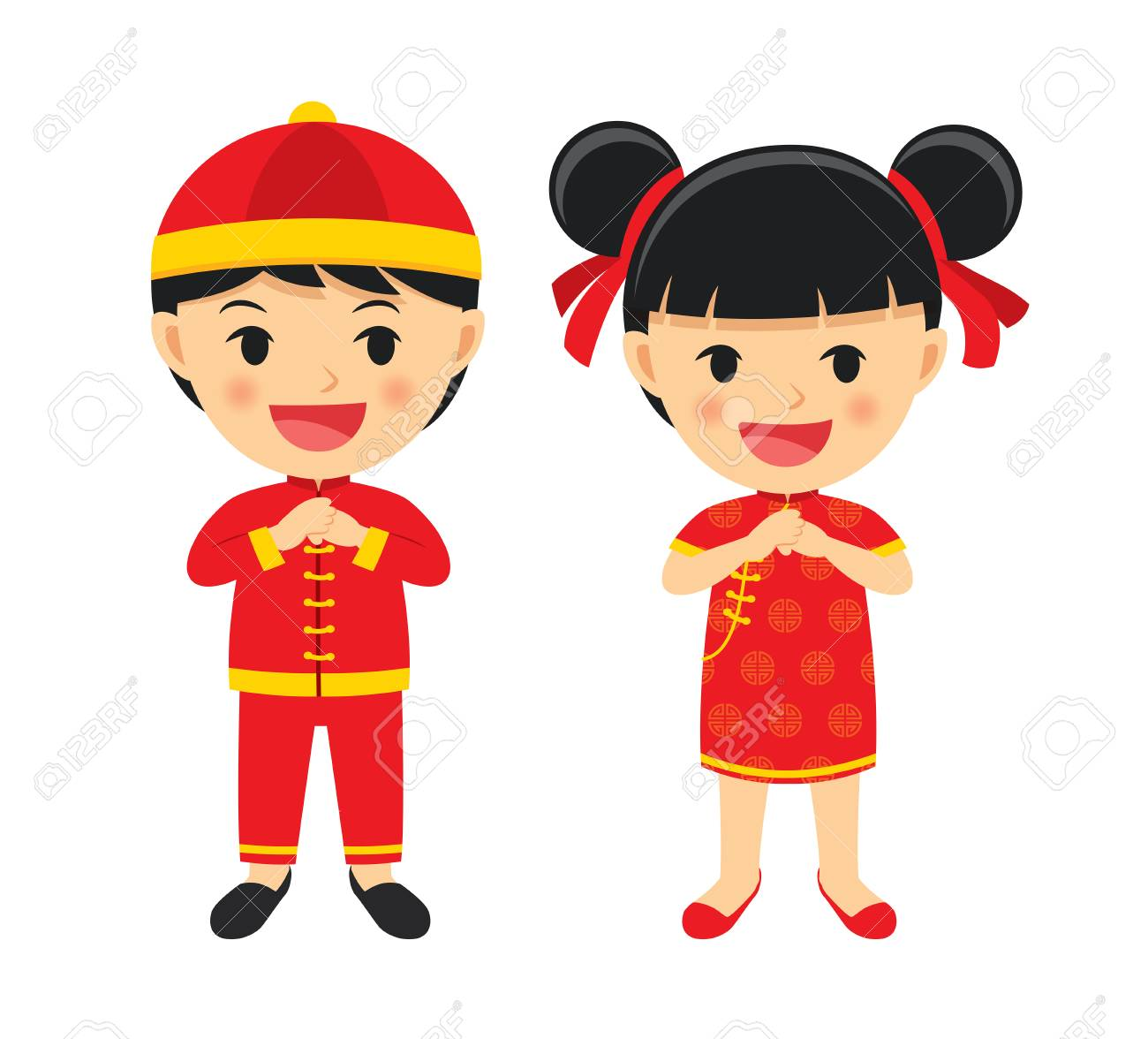 Happy chinese new year boy and girl in traditional clothes celebrate.