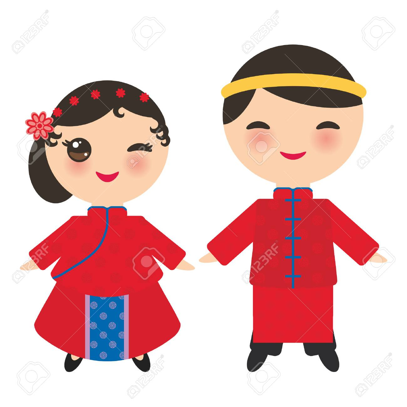 Chinese boy and girl in national costume and hat. Cartoon children...