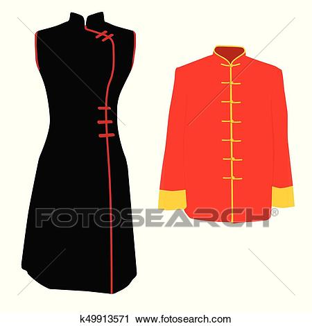 Chinese traditional costume Clipart.