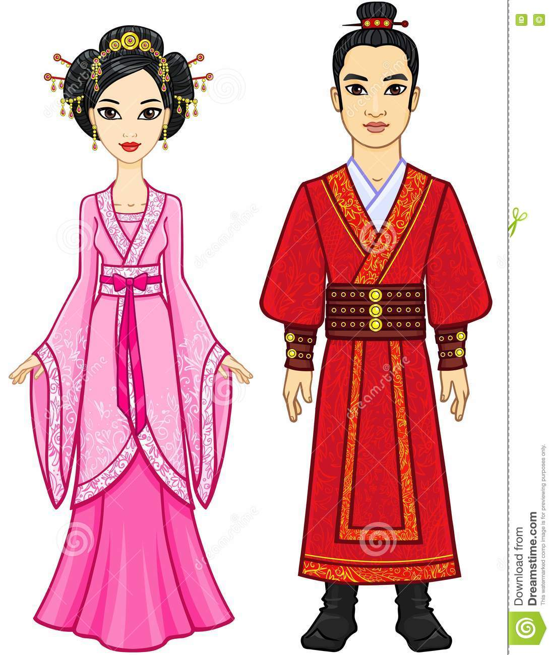 Portrait Of An Animation Chinese Family In Traditional Clothes. Full.