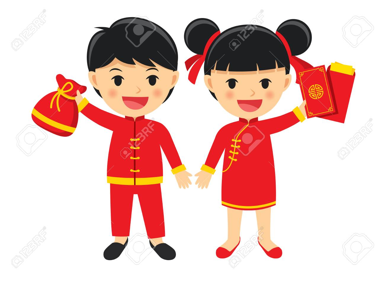 Happy boy and girl in traditional clothes celebrate get chinese...