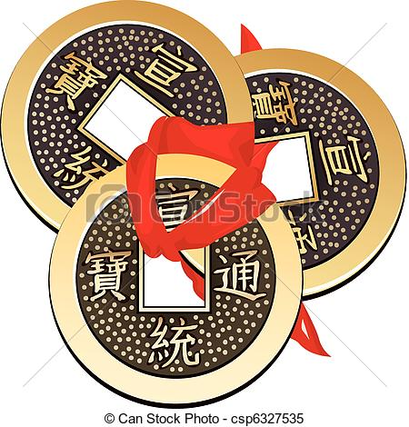 Clipart Vector of Chinese coin tied with red ribbon. A square.