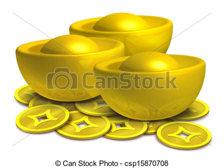 Stock Illustration of Chinese gold cute.