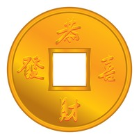 Chinese coin with greeting Vector Image.