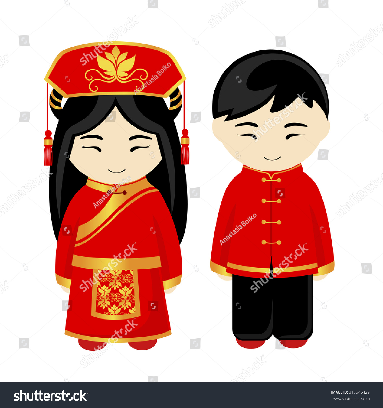 Chinese Man Chinese Woman Chinese People Stock Vector (Royalty Free.