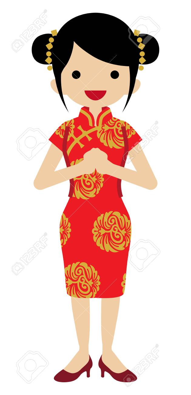 Young Woman Wearing Chinese National costume.