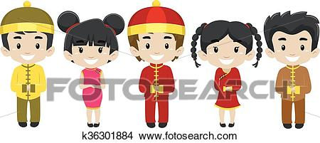 Set of Kids wearing Chinese Costume Clipart.