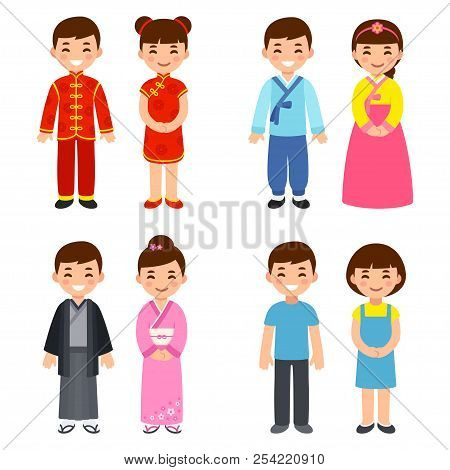 Cute Cartoon Children In Traditional Costumes Of Asian Countries: China,  Korea And Japan, And Everyd poster.