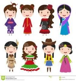 India clipart traditional costume. People in national dress.
