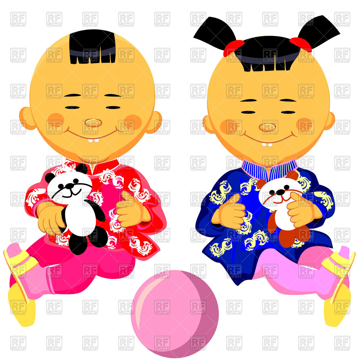 Chinese baby boy and girl in national costume (kimono) with panda toy Stock  Vector Image.